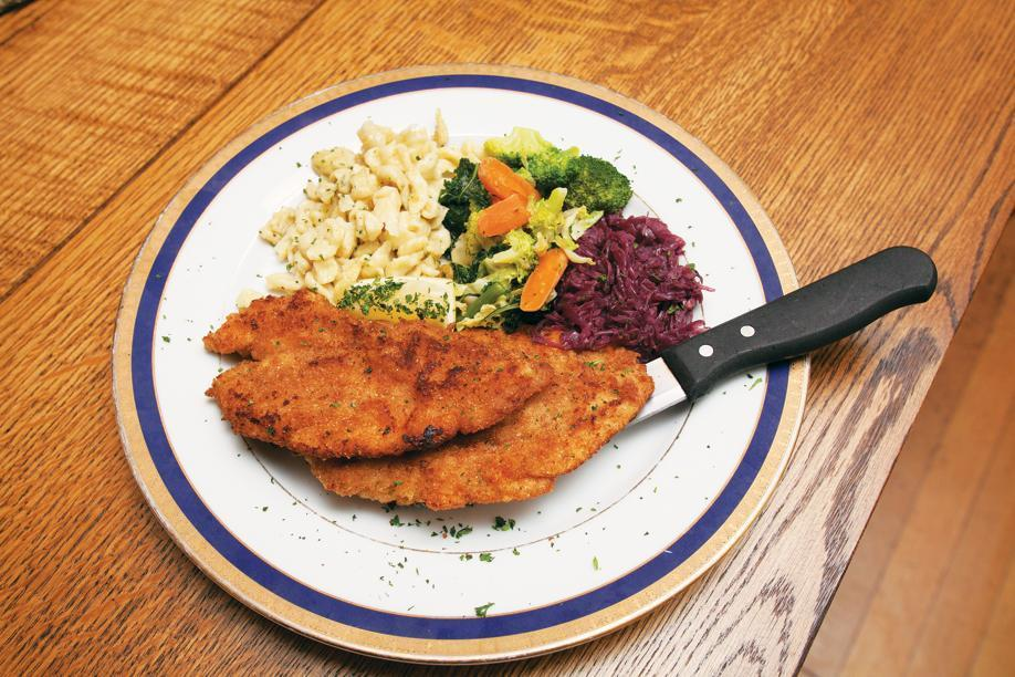 A plate of schnitzel.